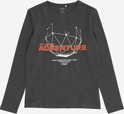 NAME IT Shirt 'Vux' in de kleur Donkergrijs / Pastelrood / Wit, Productweergave