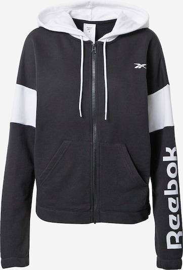 REEBOK Спортна жилетка с качулка в черно / бяло, Преглед на продукта