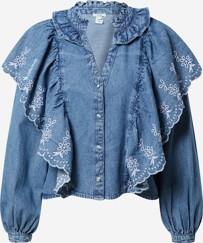 River Island Bluse in blue denim, Produktansicht