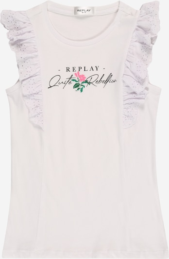 REPLAY Top en verde / rosa claro / negro / blanco, Vista del producto