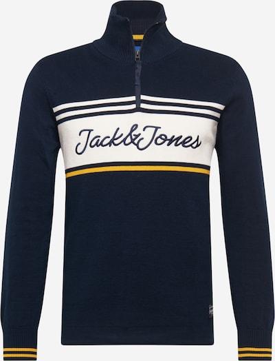 JACK & JONES Trui 'Francis' in de kleur Donkerblauw / Geel / Wit, Productweergave