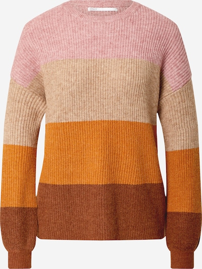 ONLY Pullover 'Sandy' in beige / braun / orange / rosa, Produktansicht