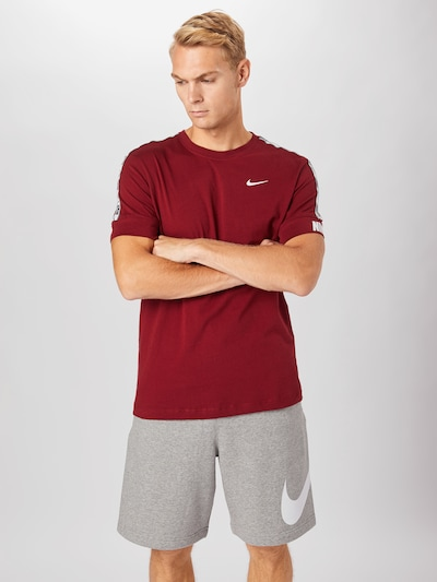 Nike Sportswear Shirt 'REPEAT ' in rot / weiß: Frontalansicht