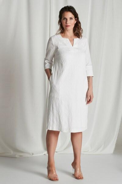 Ulla Popken Ulla Popken Damen große Größen Übergrößen Plus Size Jacquard-Kleid 794108 in weiß, Modelansicht