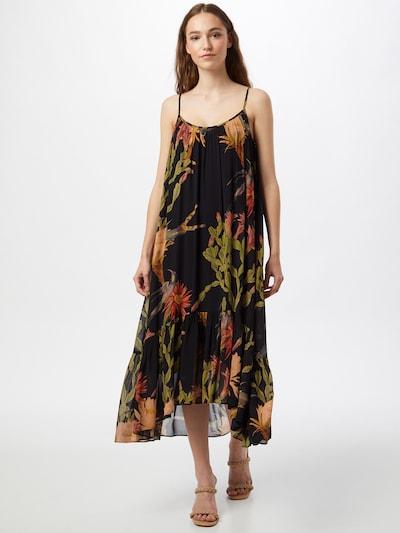AllSaints Jurk 'Paola' in de kleur Olijfgroen / Lichtoranje / Oranjerood / Zwart, Modelweergave
