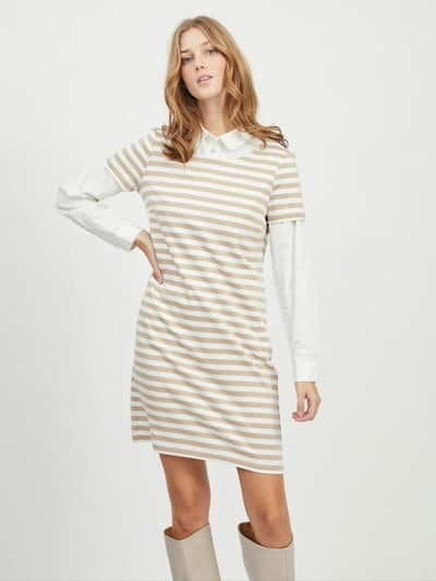 VILA Sukienka 'Tinny' w kolorze piaskowy / białym, Podgląd na modelu(-ce)