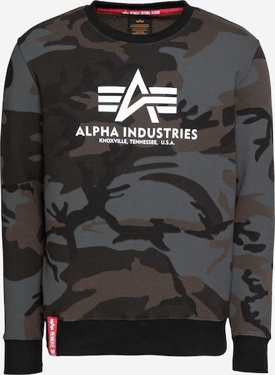 ALPHA INDUSTRIES Sweatshirt in dunkelgrau / khaki / schwarz / weiß, Produktansicht