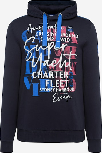CAMP DAVID Sweatshirt in marine / royalblau / pink / weiß: Frontalansicht