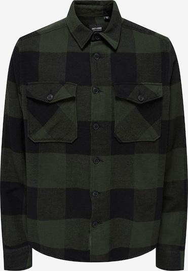 Only & Sons Overhemd 'Milo' in de kleur Donkergroen / Zwart, Productweergave