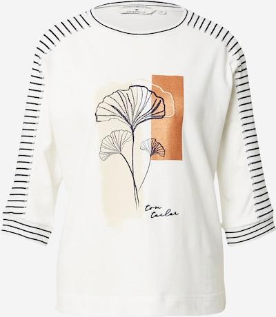 TOM TAILOR Shirt in creme / cognac / schwarz / weiß, Produktansicht