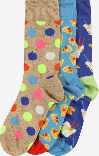 Happy Socks Socken 'Pizza Love' in hellbeige / indigo / rauchblau / hellgrün, Produktansicht