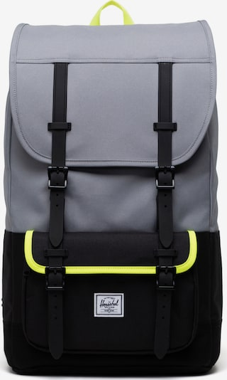 Herschel Backpack 'Little America Pro' in Neon yellow / Silver grey / Black, Item view