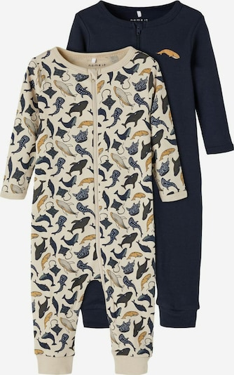 NAME IT Pyjama en beige / bleu foncé: Vue de face
