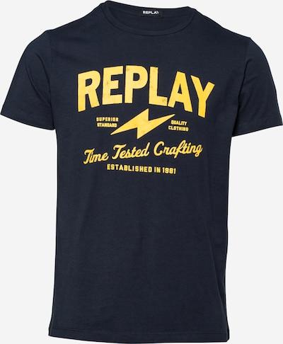 REPLAY T-Shirt in dunkelblau / dunkelgelb, Produktansicht