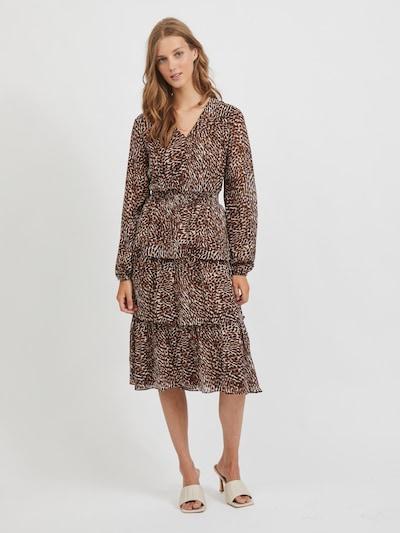VILA Kleid 'Fulla' in braun / hellbraun / schwarz / weiß, Modelansicht