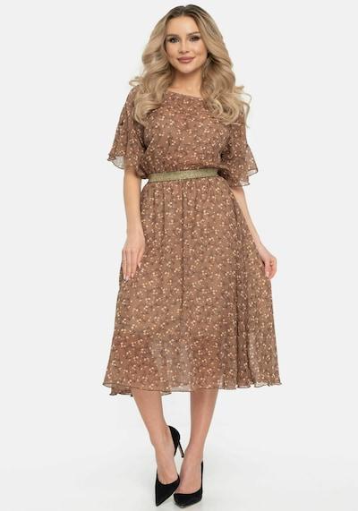 Wisell Kleid in beige / braun / weiß, Modelansicht