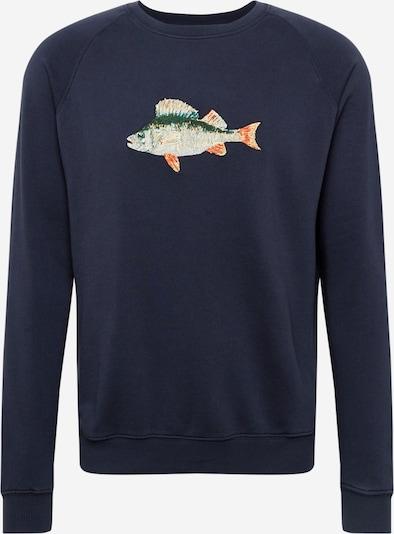 forét Sweatshirt 'BAIT' in de kleur Navy / Grijs / Groen / Sinaasappel, Productweergave