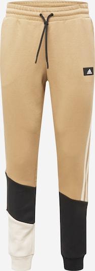 ADIDAS PERFORMANCE Спортен панталон в бежово / черно / бяло: Изглед отпред