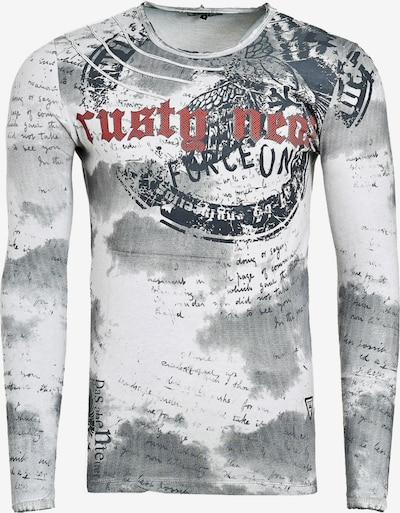 Rusty Neal Langarmshirt mit Batik Print in weiß: Frontalansicht