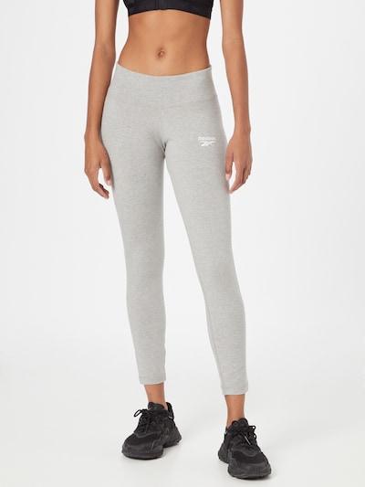 Reebok Sport Sporthose in graumeliert / weiß, Modelansicht