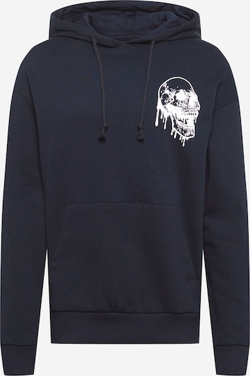 JACK & JONES Sweatshirt 'NIGHT' in black / white: Frontal view