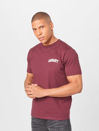 Carhartt WIP Тениска в винено червено / бяло: Изглед отпред