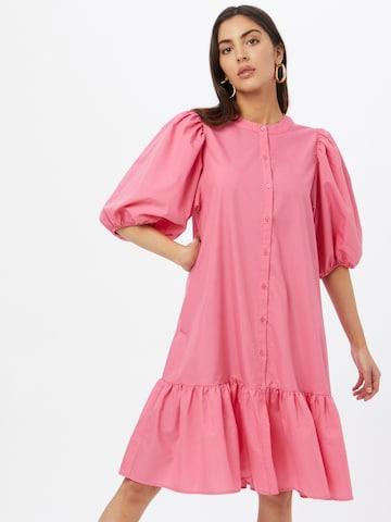 Gina Tricot Shirt Dress 'Slogan' in Pink