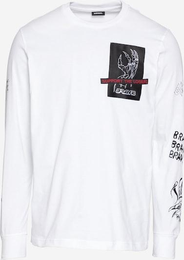 DIESEL Тениска в червено / черно / бяло, Преглед на продукта