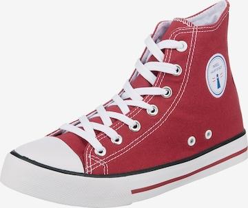 Inselhauptstadt High-Top Sneakers in Red