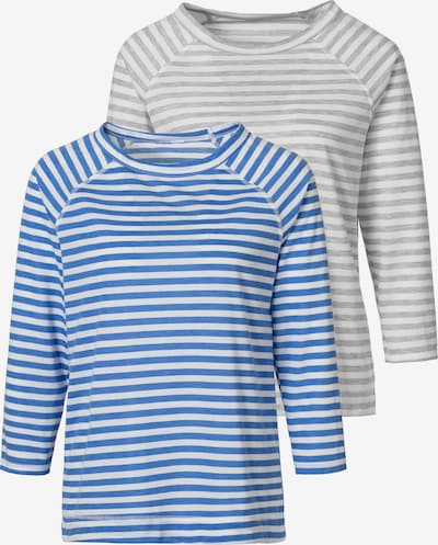 Tricou HIS JEANS pe azuriu / gri / alb, Vizualizare produs