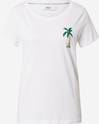 ONLY T-Shirt 'KITA' in braun / grün / weiß, Produktansicht