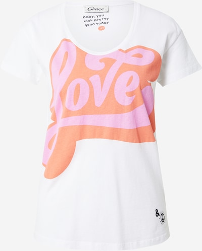 Grace Shirt 'LOVE' in de kleur Sinaasappel / Pink / Wit, Productweergave