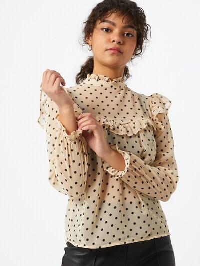 Miss Selfridge Bluse 'DOBBY' in kitt / dunkelbraun / schwarz, Modelansicht