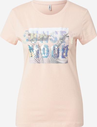 ONLY T-Shirt in blau / grasgrün / hellorange, Produktansicht