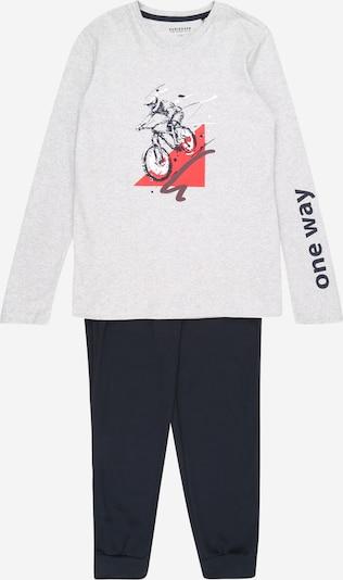 SCHIESSER Pyžamo 'Downhill' - tmavě modrá / šedý melír / červená / bílá, Produkt