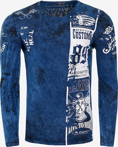 Rusty Neal Langarmshirt mit plakativem Front & Back Print in blau: Frontalansicht