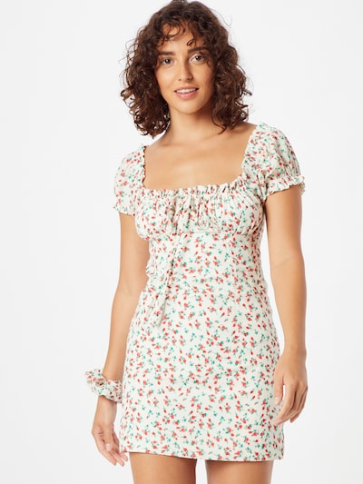 Daisy Street Summer Dress in Green / Red / White, View model