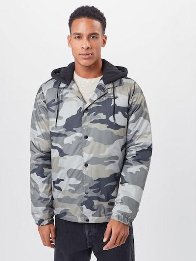 HOLLISTER Between-season jacket in Marine / Grey / Olive / Black: Frontal view