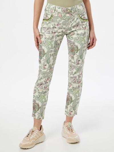 Pantaloni 'Naomi' MOS MOSH pe verde / roz / alb, Vizualizare model