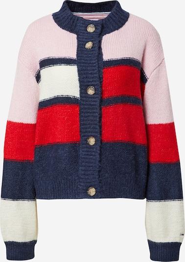 Tommy Jeans Strickjacke in navy / rosé / rot / weiß, Produktansicht