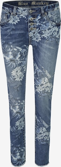 Blue Monkey Skinny Fit Jeans Alexis mit offenem Saum in blau, Produktansicht