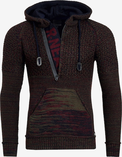 Rusty Neal Cooler Grobstrick-Pullover mit Kapuze in rot, Produktansicht
