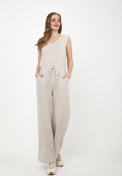 Madam-T Jumpsuit 'Billabona' in de kleur Grijs / Wit, Modelweergave
