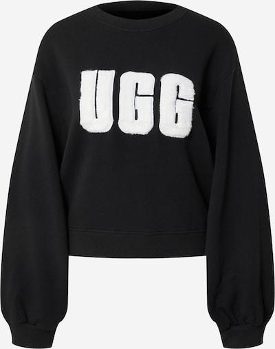 UGG Sweatshirt 'W FUZZY LOGO BROOK CREWNECK' in schwarz / weiß, Produktansicht