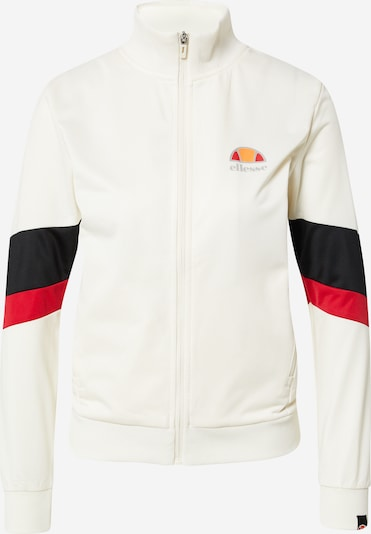 ELLESSE Athletic Zip-Up Hoodie 'Denisa' in Red / Black / Off white, Item view