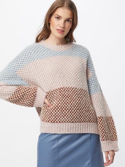 SECOND FEMALE Pulover 'Berthe' | svetlo modra / rjava / roza barva, Prikaz modela