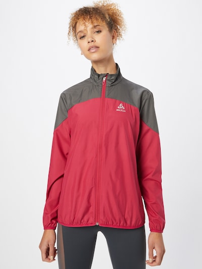 ODLO Sportjas in de kleur Donkergrijs / Rood: Vooraanzicht