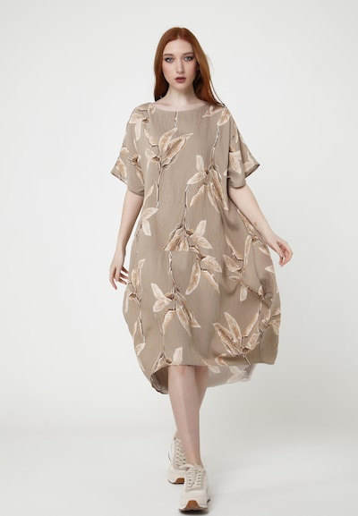 Madam-T Maxikleid 'ASHLEY' in beige, Modelansicht