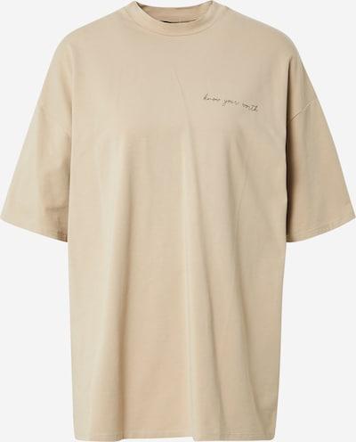 NU-IN Camiseta talla grande 'Know Your Worth' en beige / negro, Vista del producto