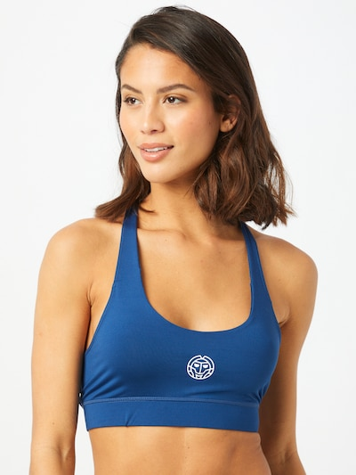 BIDI BADU Sport-BH 'Letty' in ultramarinblau / weiß: Frontalansicht